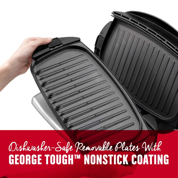 5 serving removable plate panini grill black george - Largest george foreman grill with removable plates ...