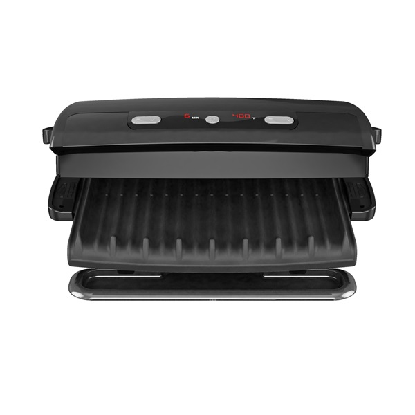 6 serving removable plate panini grill black george - George foreman replacement grill plates ...
