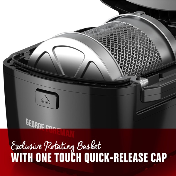 Exclusive rotating basket with one touch quick release cap