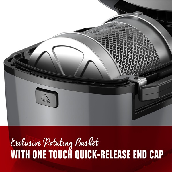 Exclusive rotating basket with one touch quick release end cap