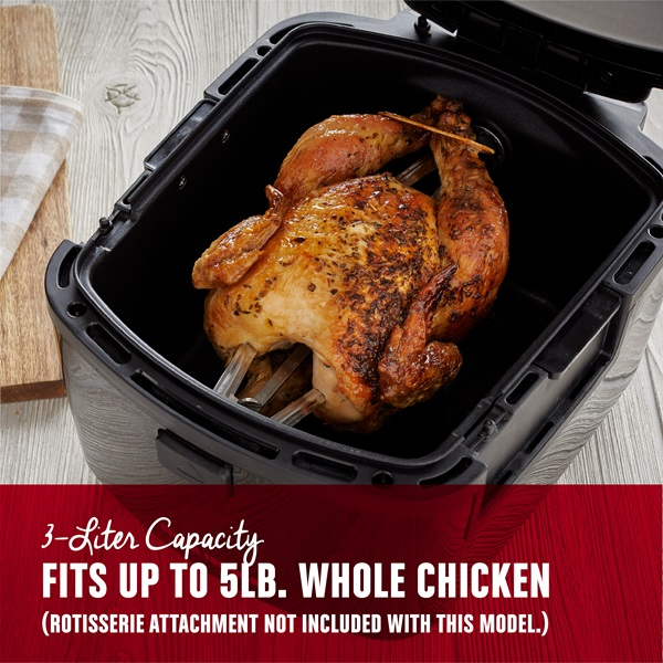 3 Liter capacity fits up to 5 pound whole chicken