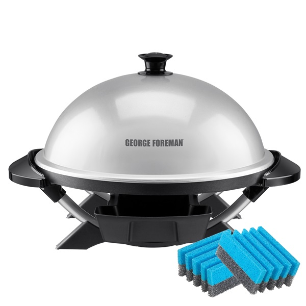GFO200SSP Indoor|Outdoor 12+ Serving Domed Electric Grill with Cleaning Sponges