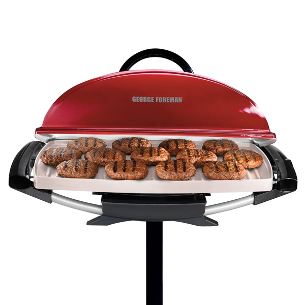 Indoor outdoor 12 serving rectangular electric grill with ceramic plates red george foreman - Buy george foreman grill ...
