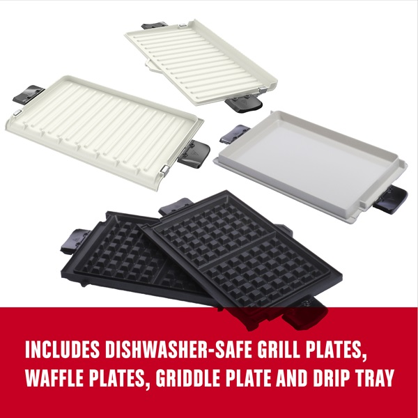 includes grill plates, waffle plates, griddle plate and drip tray