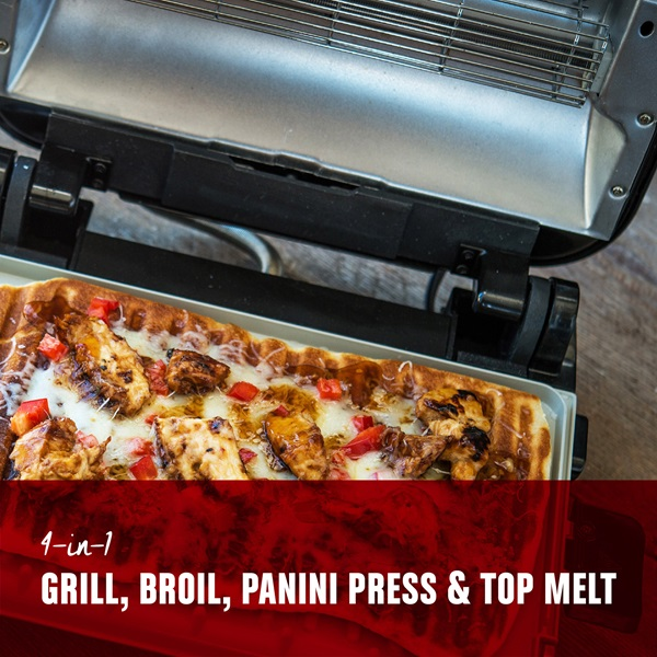 4 in 1, grill, broil, panini press, and top melt