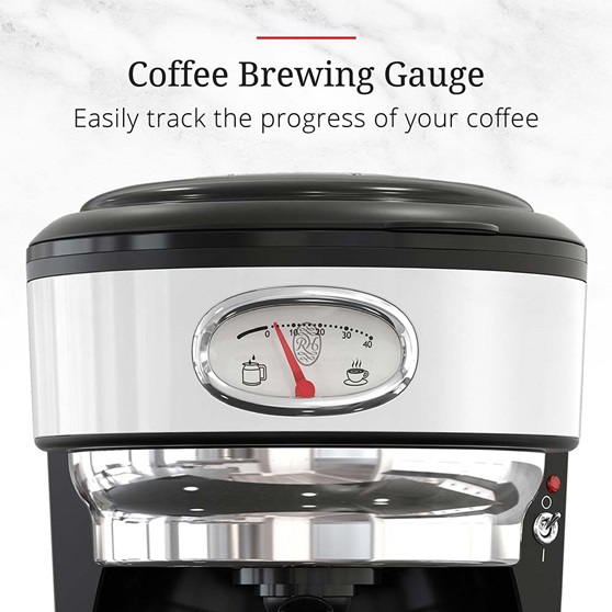 CM3100WTR Retro Style Coffeemaker in White - Process Gauge