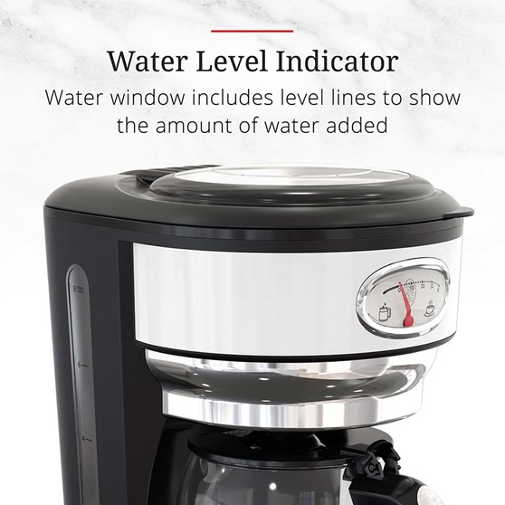CM3100WTR Retro Style Coffeemaker in White - Water Level Indicator