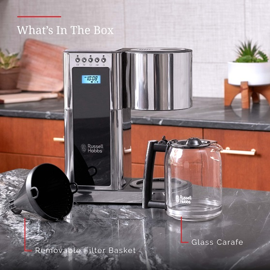 Stainless Steel 8-Cup Coffeemaker | Black Glass Accent | Whats in the box