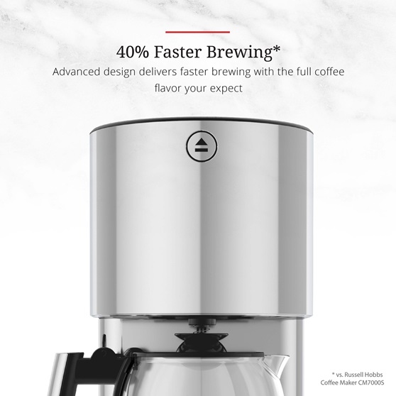 Stainless Steel 8-Cup Coffeemaker | Silver Glass Accent | 40 percent faster