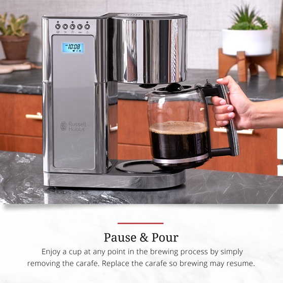 Stainless Steel 8-Cup Coffeemaker | Silver Glass Accent | pause and pour