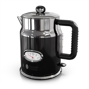 Retro Style 1.7L Electric Kettle | Black & Stainless Steel
