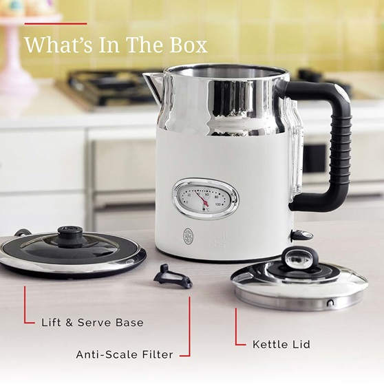 KE5550WTR Retro Style Electric Kettle in White - Whats In The Box