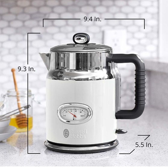 KE5550WTR Retro Style Electric Kettle in White - Product Scale Image