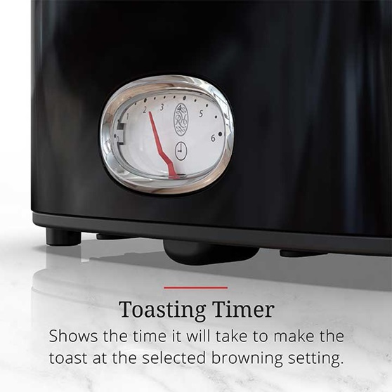 Toasting Timer shows the time it will take to make the toast at the selected browning setting | TR9150BKR