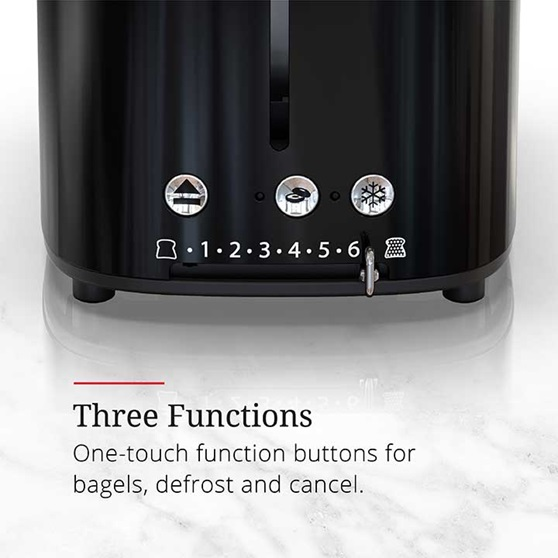 Three functions, one touch function buttons for bagels, defrost and cancel | TR9150BKR