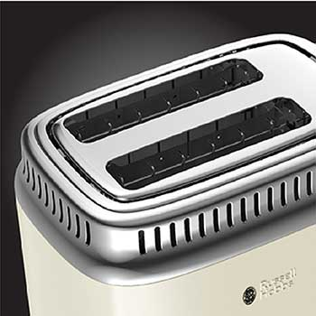 Extra Wide Slots | Retro Style 2-Slice Toaster | Cream & Stainless Steel