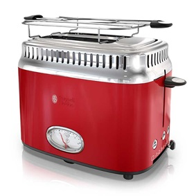 Retro Style 2-Slice Toaster | Red & Stainless Steel
