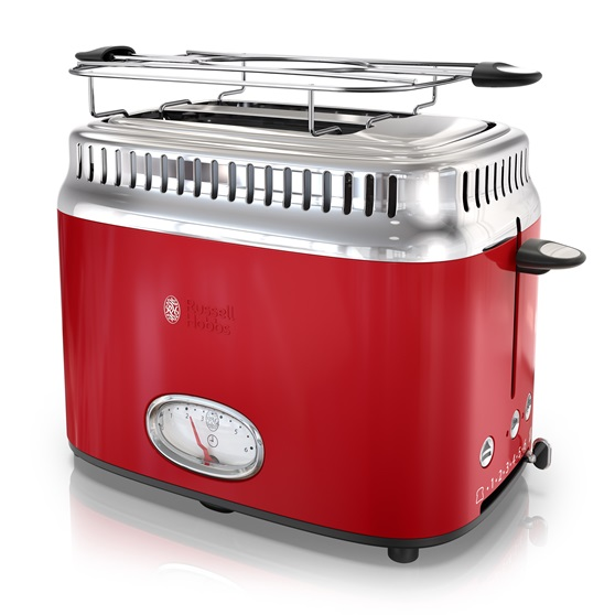retro style 2 slice toaster red stainless steel russell hobbs. Black Bedroom Furniture Sets. Home Design Ideas