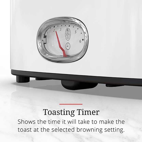 Toasting Timer shows the time it will take to make the toast at the selected browning setting | TR9150WTR