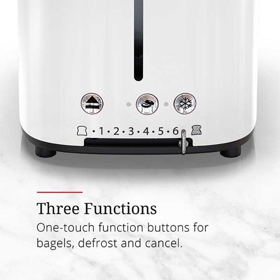 Three functions, one touch function buttons for bagels, defrost and cancel | TR9150WTR