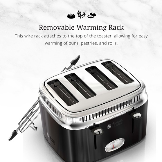 Retro Style 4-Slice Toaster | Black & Stainless Steel