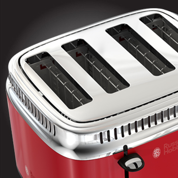 red retro style 4 slice toaster extra wide slots 0tr9250rdr