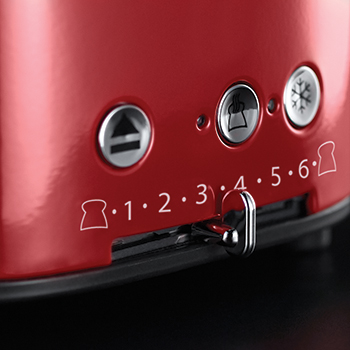 red retro 4 slice toaster variable browning control