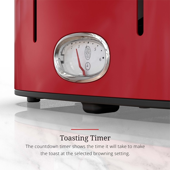 Retro Style 4-Slice Toaster | Red & Stainless Steel tr9250rdr