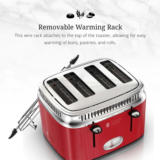 retro style 4 slice toaster red stainless steel russell hobbs. Black Bedroom Furniture Sets. Home Design Ideas