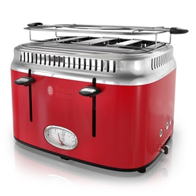Retro Style 4-Slice Toaster | Red & Stainless Steel