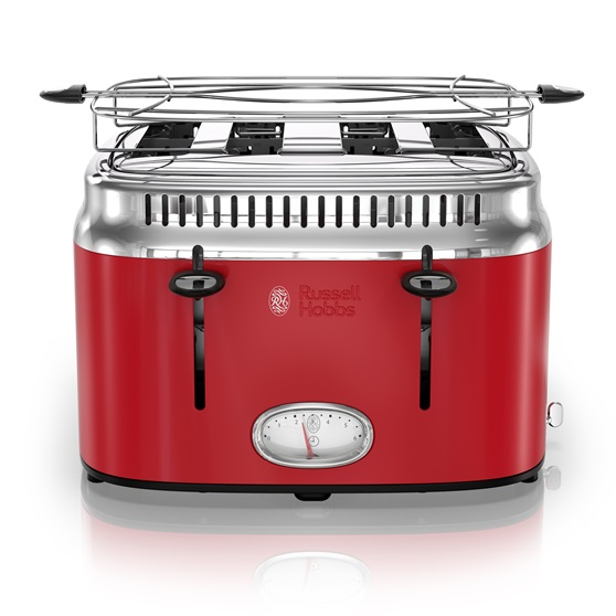 russell hobbs tr9250rdr retro 4 slice toaster red