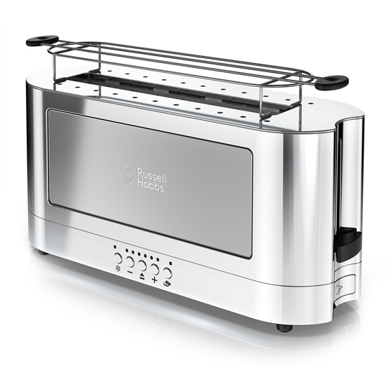 2-Slice Stainless Steel Long Toaster | Black Glass Accent