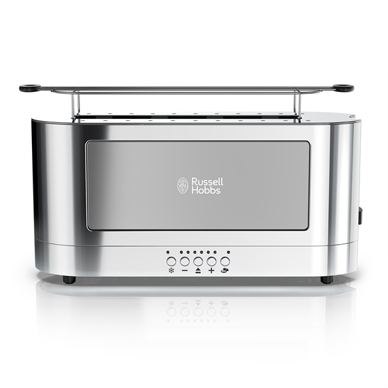 2 slice stainless steel long toaster silver glass russell hobbs. Black Bedroom Furniture Sets. Home Design Ideas