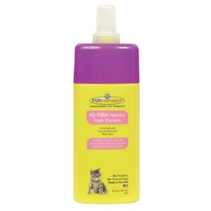 Use FURminator's gentle  kitten shampoo for bathing a kitten.