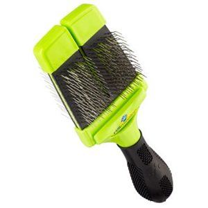 Our small firm slicker brush for dogs follows the natural contours of your dog's body.