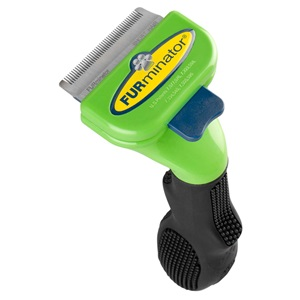 Enjoy the benefits of a fur free home and prevent dog shedding when you use this small short hair dog grooming and shedding tool.