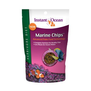 For the ideal seaweed and algae herbivore fish food, try these marine chips from Instant Ocean.