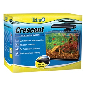 Tetra's 3 or 5 Gallon Desktop Aquarium Kit features a curved front and LED lighting.