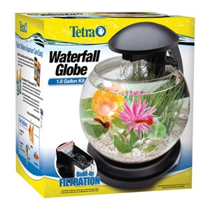 Enjoy the sound of a waterfall with Tetra's LED Waterfall Globe Desktop Aquarium Kit.